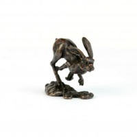 Miniature Bronze Running Hare Sculpture