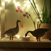 Votive with painted Canada geese