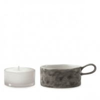 Porcelain tea light holder - black wash