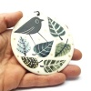 Bird in autumn leaves - Porcelain hanging plaque