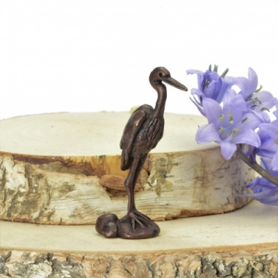 Miniature Bronze Heron Sculpture
