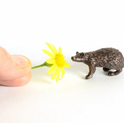 Miniature Bronze Badger Sculpture