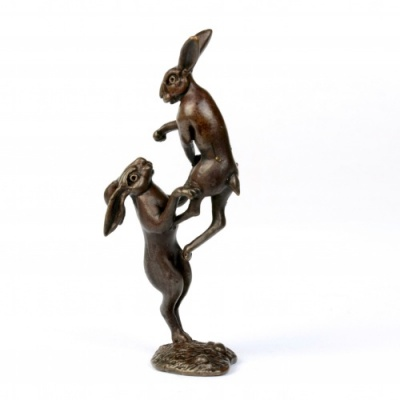 Miniature Bronze Boxing Hares Sculpture