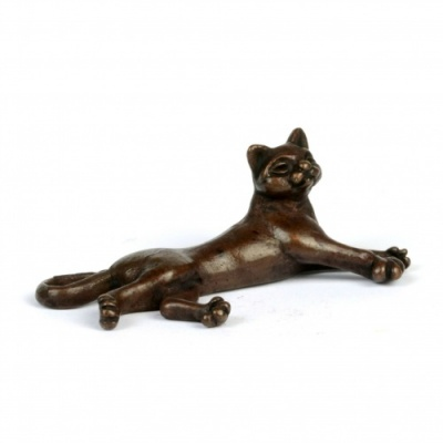 Miniature Bronze Lying Cat Sculpture