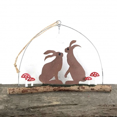 Hares & toadstools hanging decoration