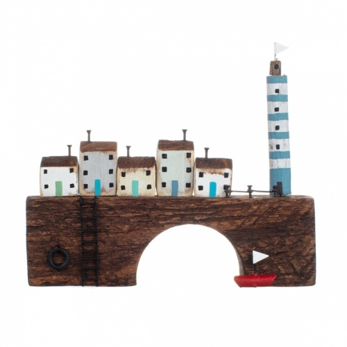 Miniature Lighthouse & Cottages on Bridge