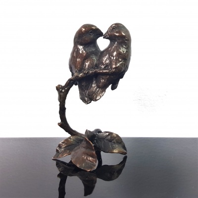 Lovebirds - foundry bronze miniature sculpture (Limited Edition 283 of 350)