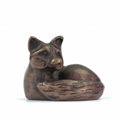 Miniature Bronze Lying Fox Sculpture