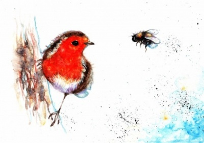 Robin and bee watercolour print