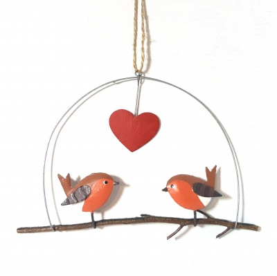 Robins in love - Hanging decoration