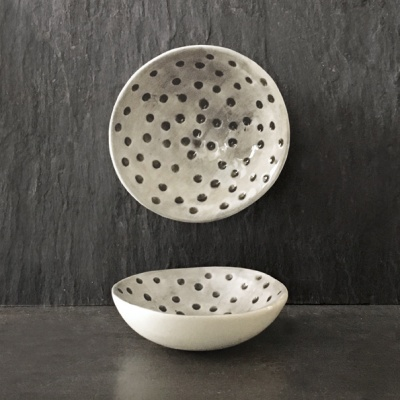Small porcelain trinket bowl with dimpled spots