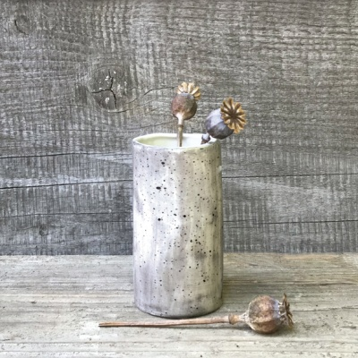 Small porcelain cylindrical vase - speckled wash
