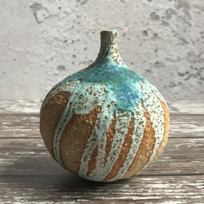 Stoneware spherical bottle - Sea surf design