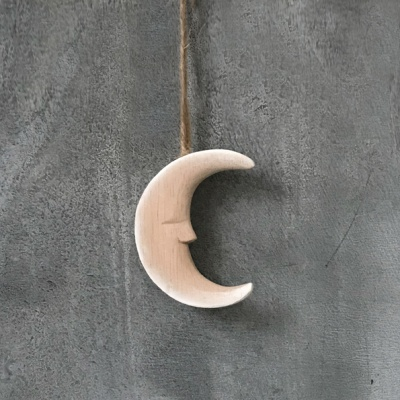 Small wooden hanging moon