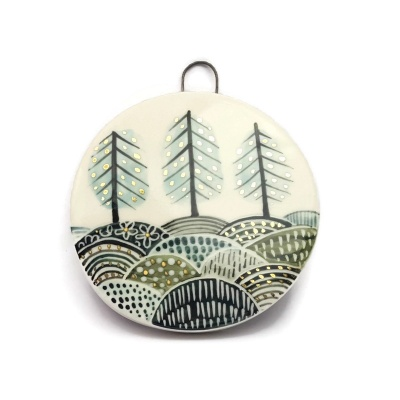 Three trees in fields - Stoneware hanging plaque