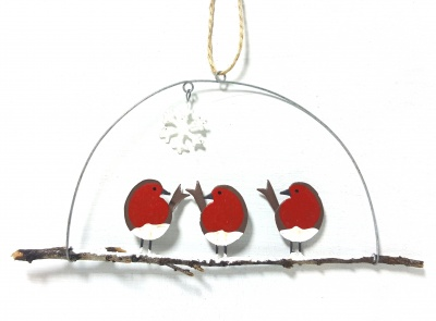 Three robins on a perch - Hanging decoration