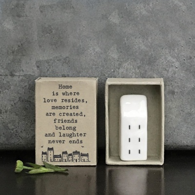 Tiny porcelain matchbox house - Home is where love resides...