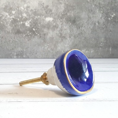 Deep blue ceramic knob