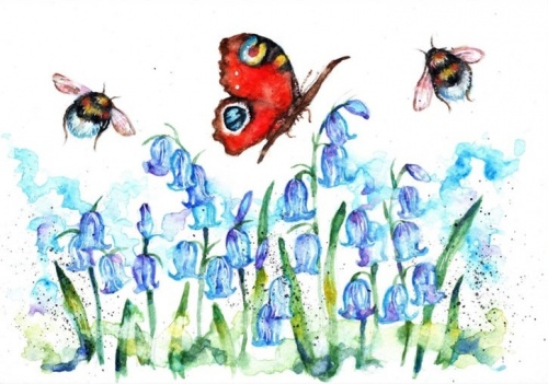 Peacock butterfly and bluebells (A5 print)
