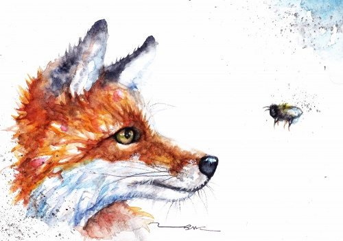 Fox and bee (A6 print)