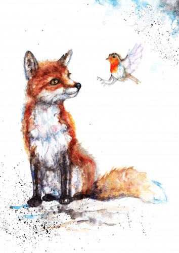 Fox and robin (A5 print)