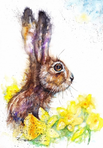 Hare and daffodils (A5 print)