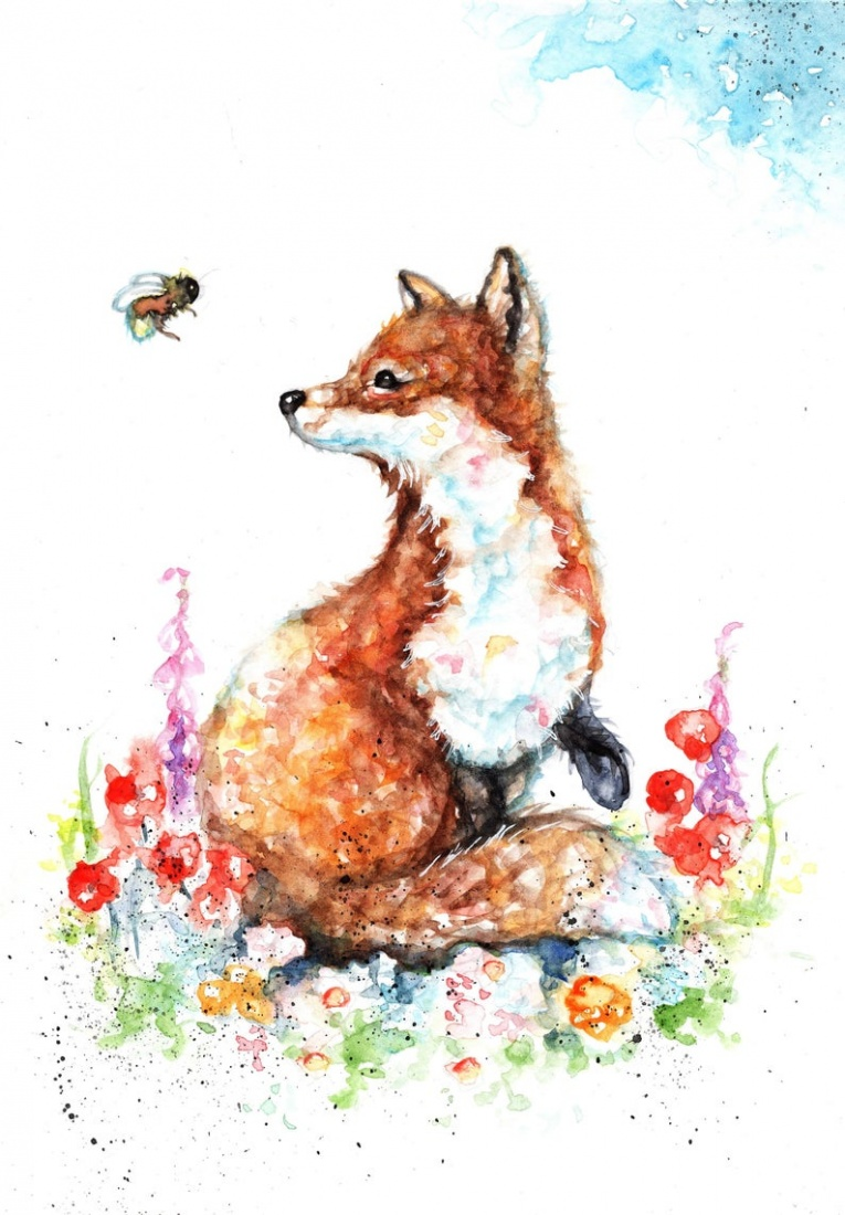 Fox and bee watercolour print