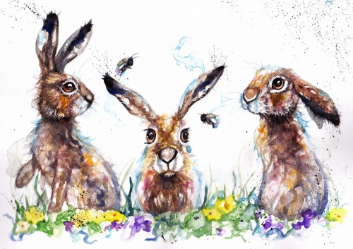 Three spring hares (A6 print)
