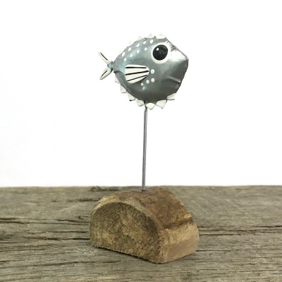Tin puffer fish shelf decoration