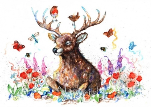 Woodland stag (A6 print)